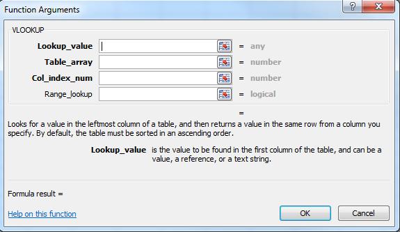Function arguments Excel