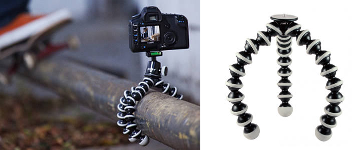 Gorillapod in use compared to a white background