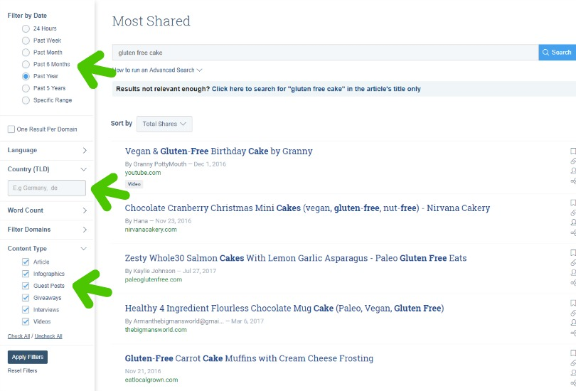 Buzzsumo shot with filtered searches