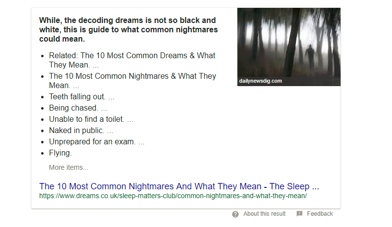 Google featured snippet for Dreams
