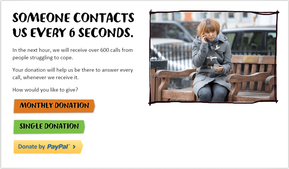 Samaritans donation landing page