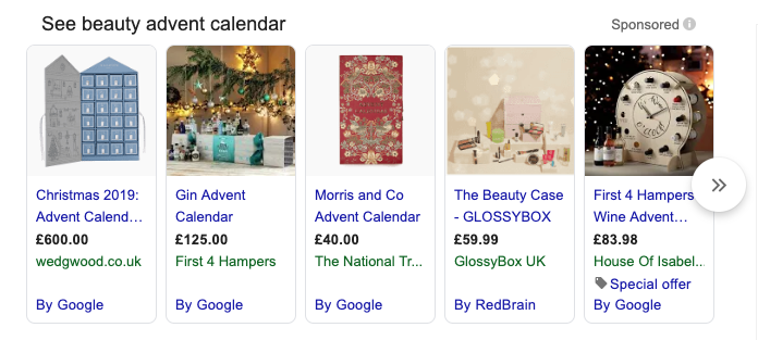 Shopping ads for the term 'beauty advent calendar 2019'
