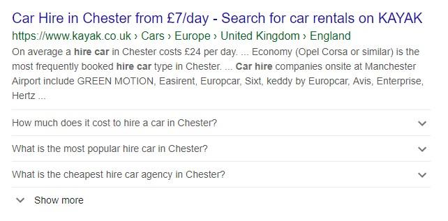 Kayak google listing showing faq schema