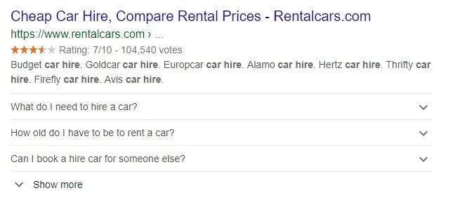 Rentalcars google listing showing faq schema