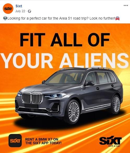 Sixt car hire facebook post